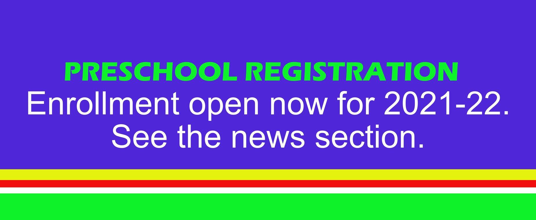 Preschool registration open