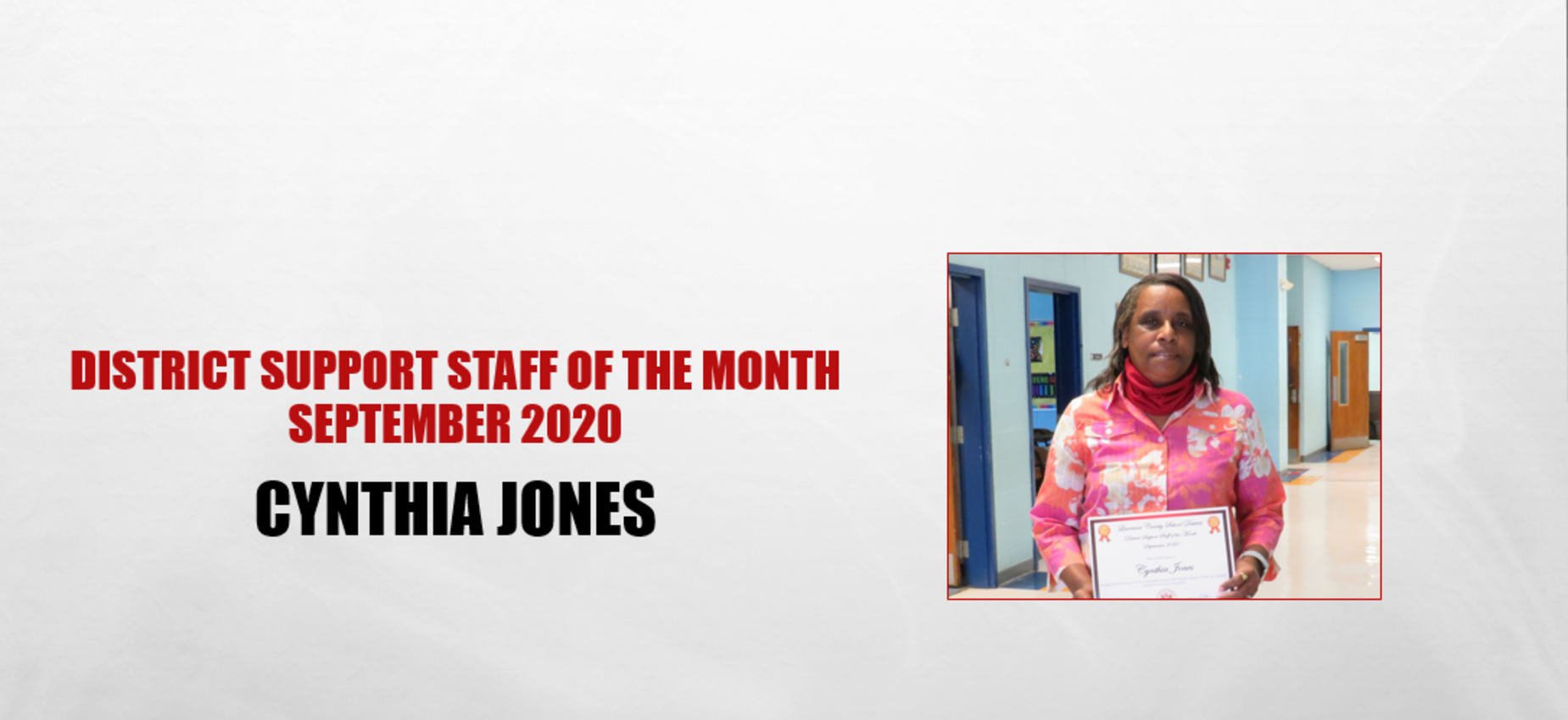 Cynthia Jones Support Staff of the Month September 2020