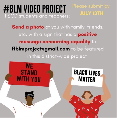 This is a flyer advertising for submissions for a video project debing developed by the BSU and ACT-SO groups at Fairfield HS to promote unity