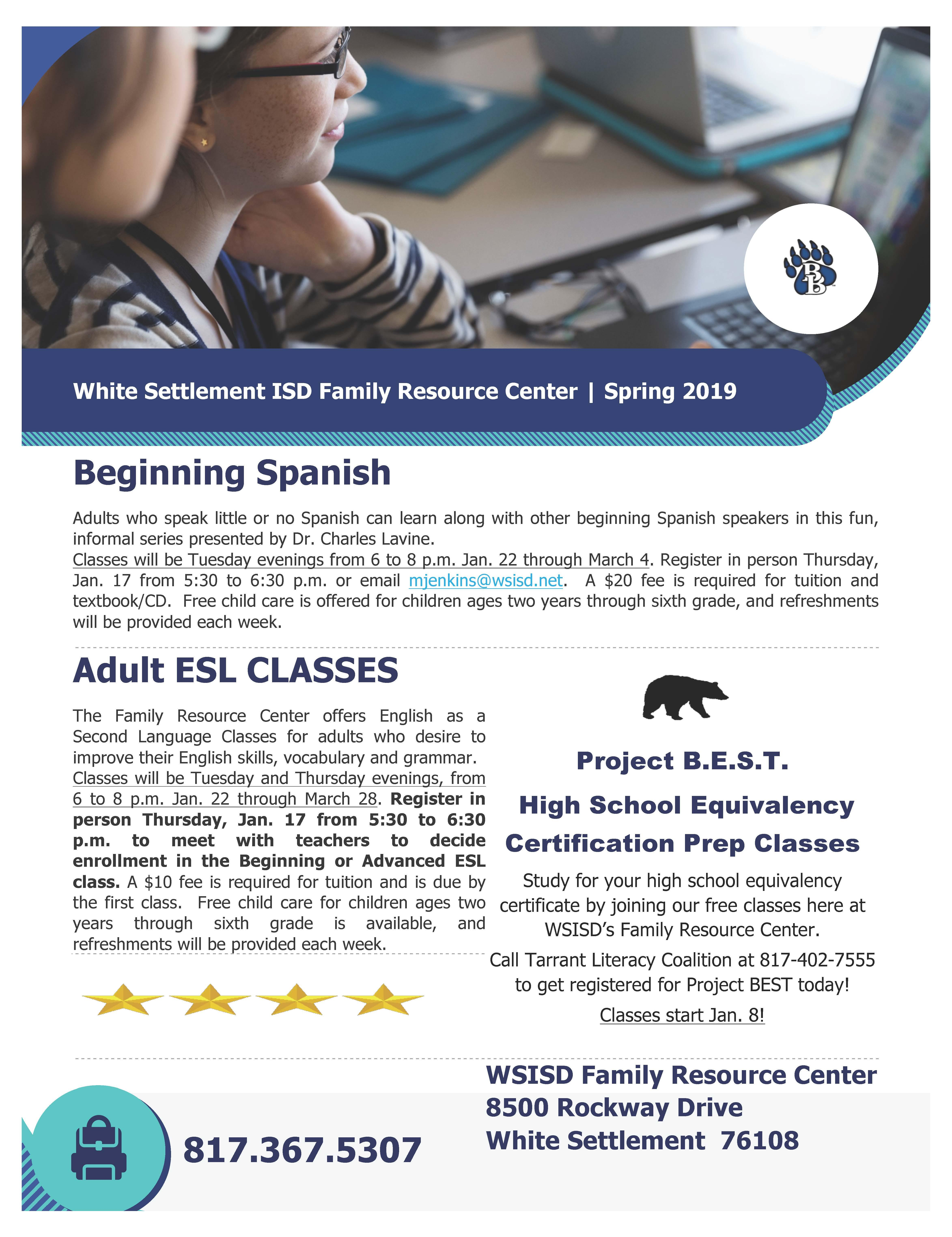WSISD Family Resource Center Offering Beginning Spanish, Adult ESL & High School Equivalency Classes