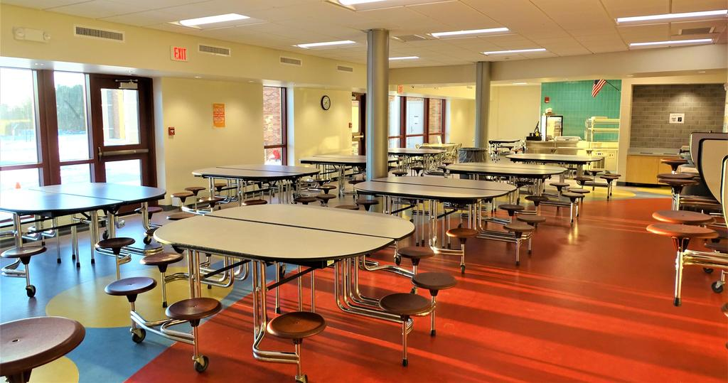 This photograph from Friday, January 31, 2020 shows the new Beekmantown Elementary School's cafeteria space that features ample natural light and suitable finishes on floors and walls for student use throughout breakfast time and lunch time.