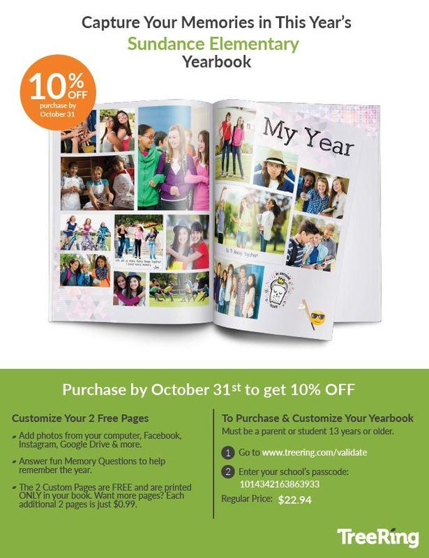 Yearbook flyer - If you purchase in the month of October, you'll save 10%