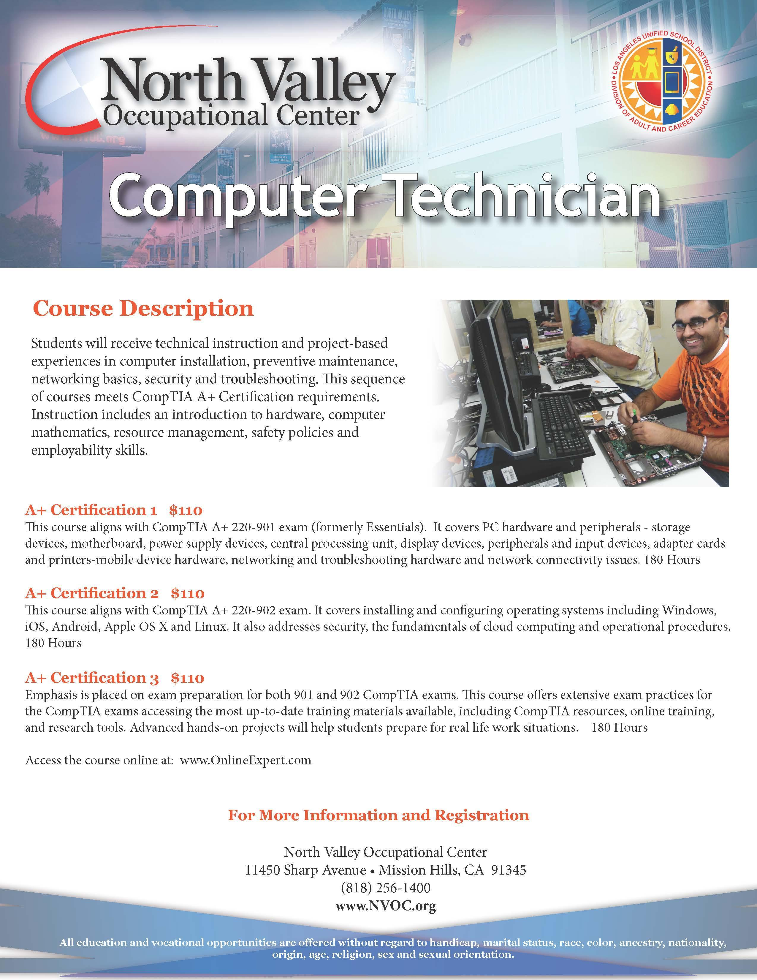 Computer Repair/A+ – Industrial Programs – North Valley