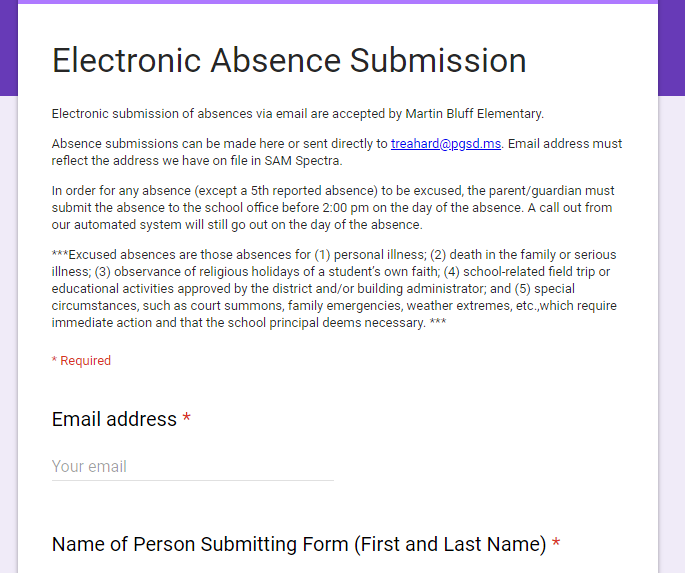 Electronic Absence Submission Form