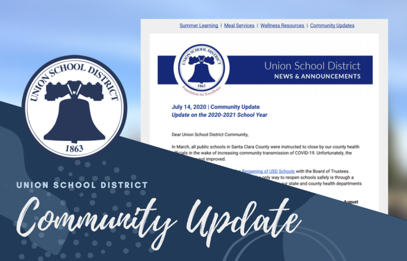 Union School District logo of a bell in blue for Community Update