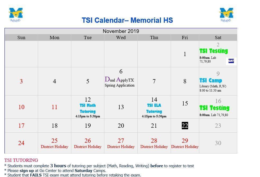 tsi november calendar