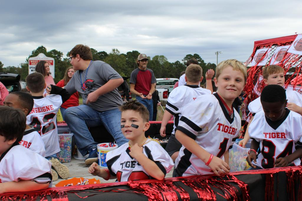football players in parade