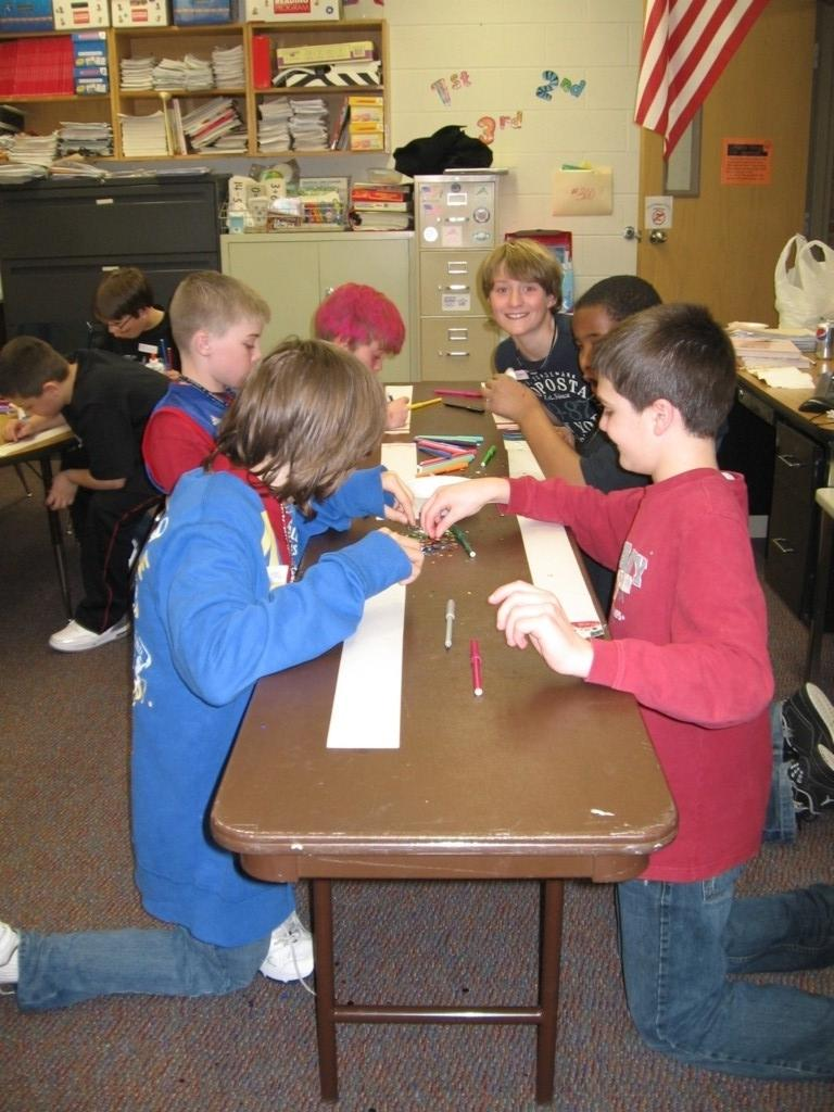 students color at tables