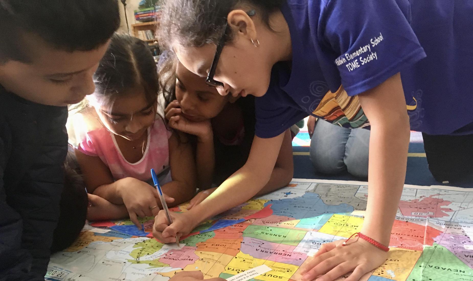students study map