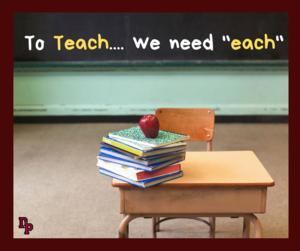 To teach we need each