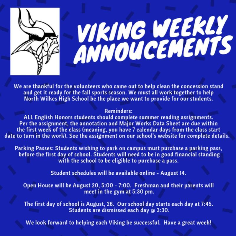 Weekly Announcements for Week of August 12 Thumbnail Image