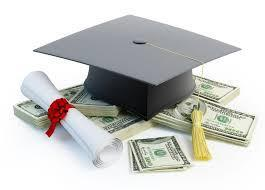 mortarboard, diploma, money
