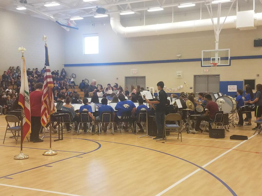 Band plays at the assembly