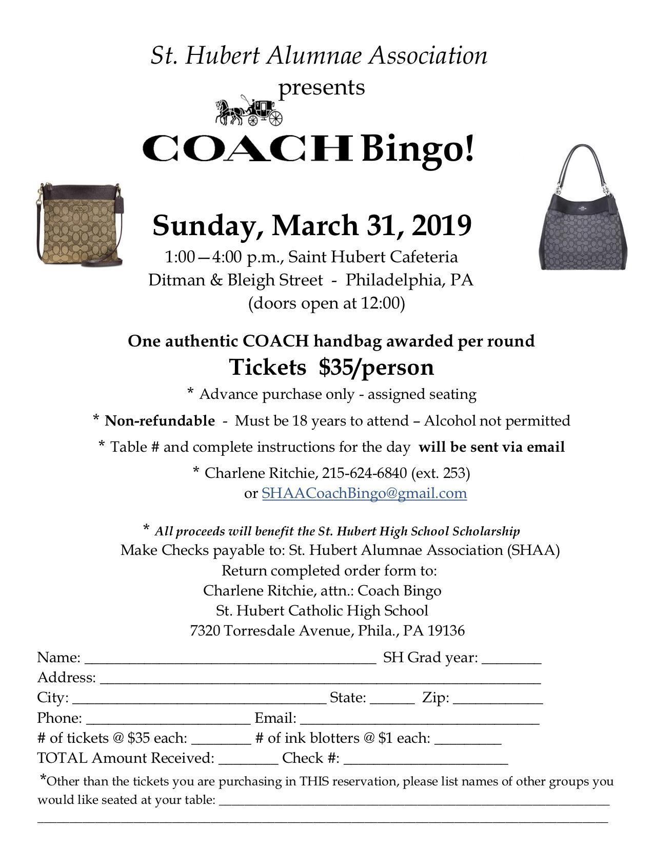 Coach Bingo order form – Upcoming Events – St Hubert Catholic High ... 078bfc11b4