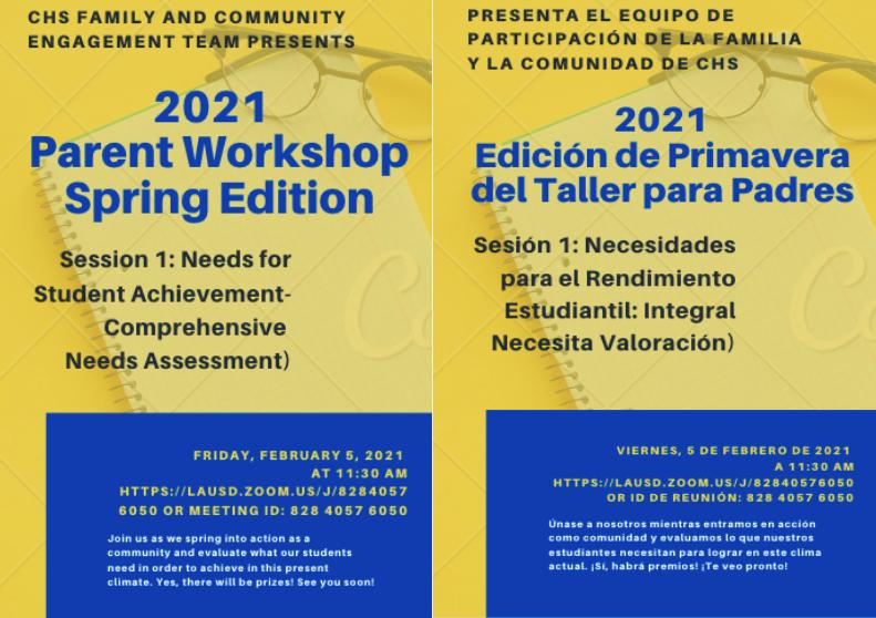 Parent Workshop - Comprehensive Needs (Friday, February 5th, 2021 at 11:30AM)/Taller Para Padres: Necesidades Integrales (Viernes, 5 de febrero de 2021 a 11:30AM) Featured Photo