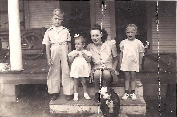 My Grandma, Uncle John, Aunt Joyce and mom 1942