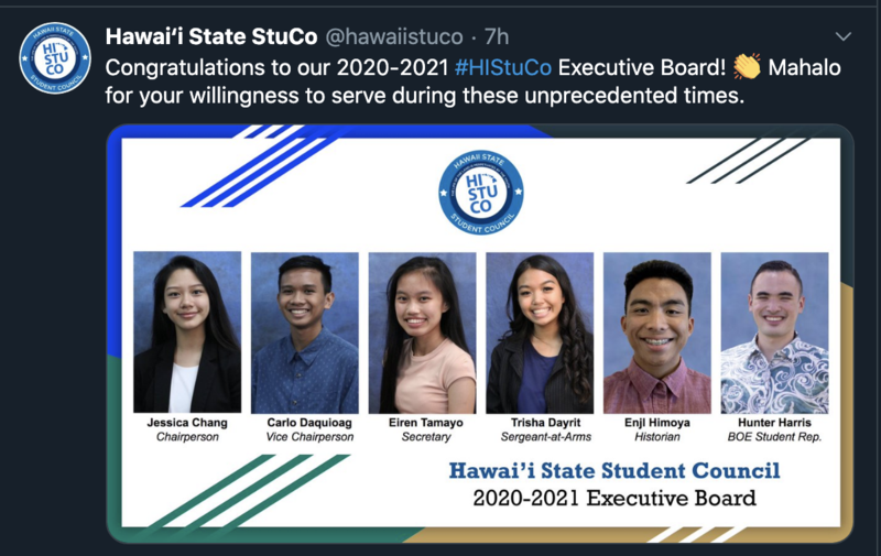 This photo shows the six Hawai'i State Student Council Board Members