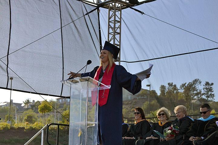 A speaker at graduation