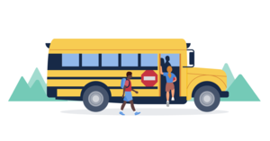 graphic of a yellow school bus with 2 students boarding