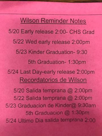 Wilson! Check out the schedule for the last week of school! Thumbnail Image