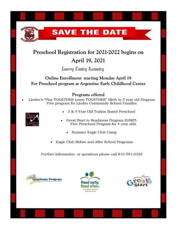 Save the Date! Preschool Registration begins April 19, 2021 Thumbnail Image