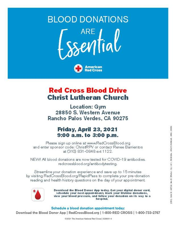 Red Cross Blood Drive- Friday, April 23 from 9:00 am- 3:00 pm Featured Photo
