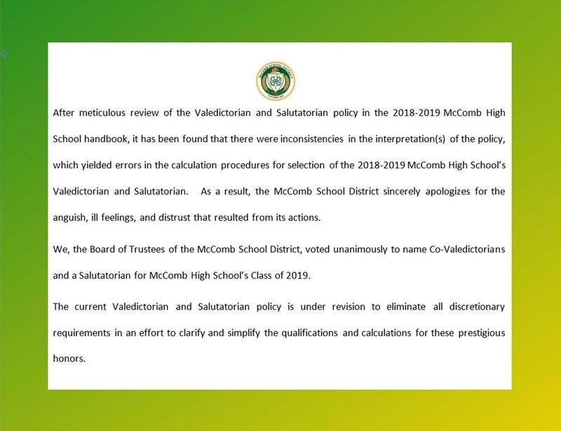 2019 Valedictorians and Salutatorian named