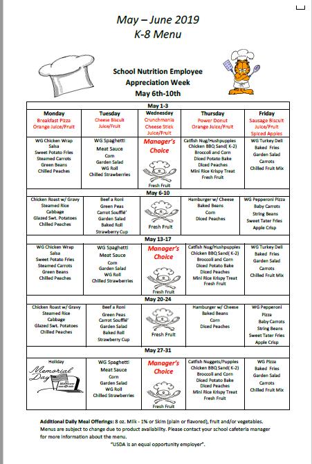 May June menu