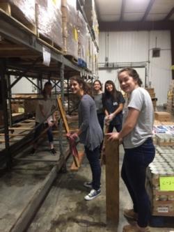 Students volunteering at Golden Harvest Foodbank