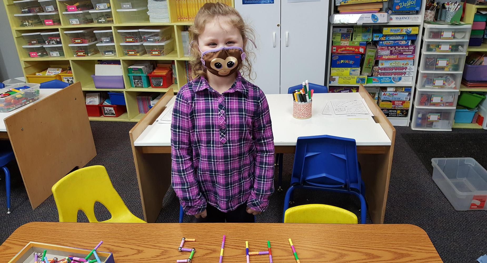 Student practicing sight words