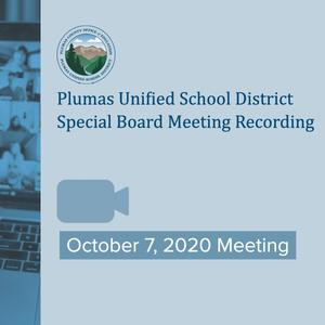 Oct 7 PUSD Special Board Meeting Video Recording