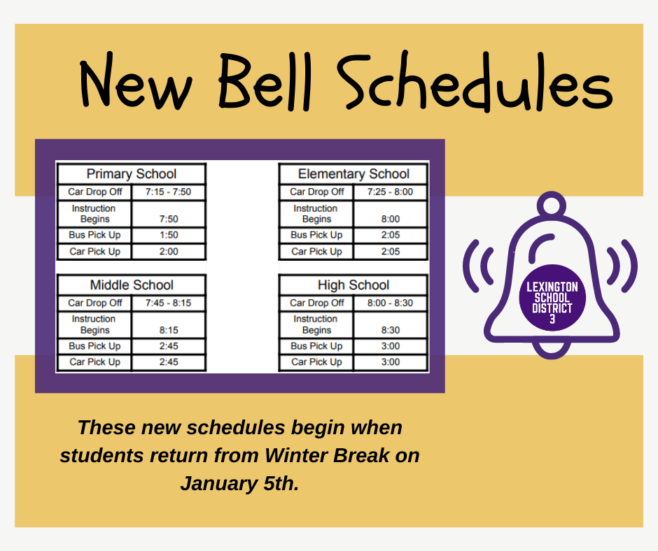 New school arrival and dismissal times