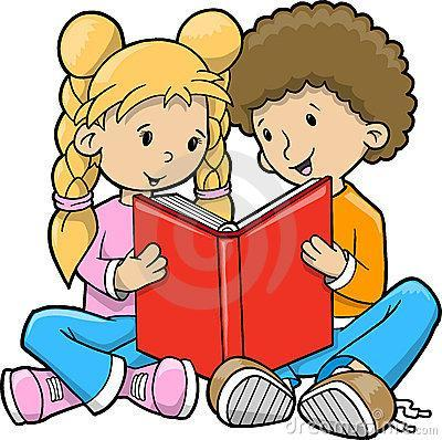Children reading a book clip art