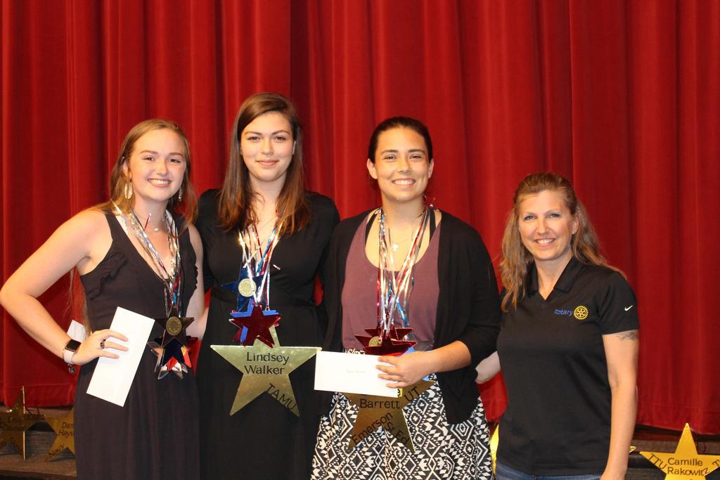 Rotary Club of Wimberley Haley Ellis ($1,000); Lindsey Walker ($2,000); and Brooke Barrett ($1,000) with Patty DeVazler, President, Rotary Club of Wimberley
