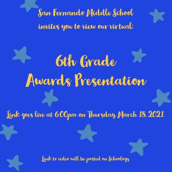 6th Grade Awards Presentation 3/18 @ 6PM Featured Photo
