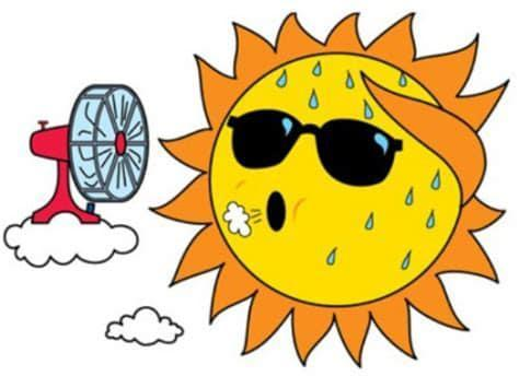 cartoon sun being cooled off by a fan