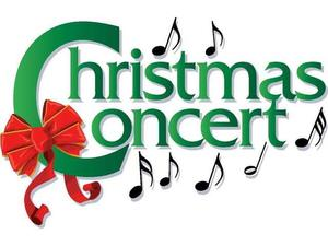 Christmas Concert with music notes and red ribbon
