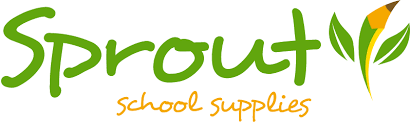 Green and yellow Sprout School Supplies Logo