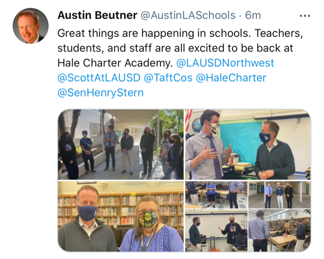 Superintendent Austin Beutner  visits the reopening of Hale Charter Academy! Featured Photo