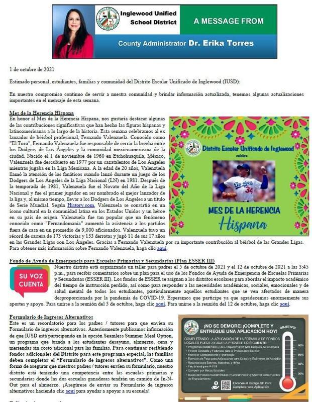 Comunicación a Padres, Familias, y Comunidad de IUSD - 10-01-2021 Featured Photo
