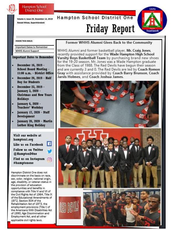 Friday Report - December 13, 2019