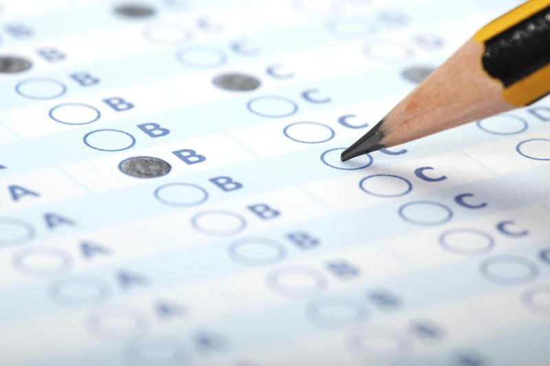 multiple choice bubble sheet with pencil