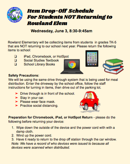 Textbook and Device Collection Schedule for Students NOT Returning Next Year Featured Photo