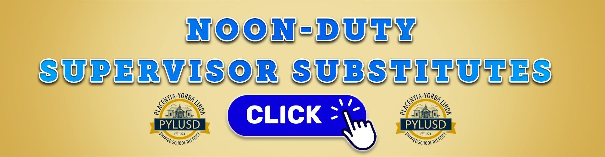 Noon Duty Supervisor Substitutes Wanted!