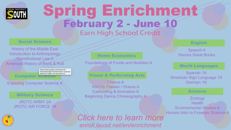 Spring Enrichment February 2 - June 10 February 2 - June 10 Earn High School Credit Featured Photo