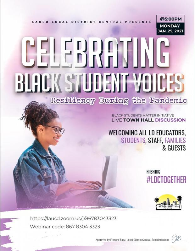 Black Students Matter Townhall at 5pm, Monday, January 25, 2021 Featured Photo