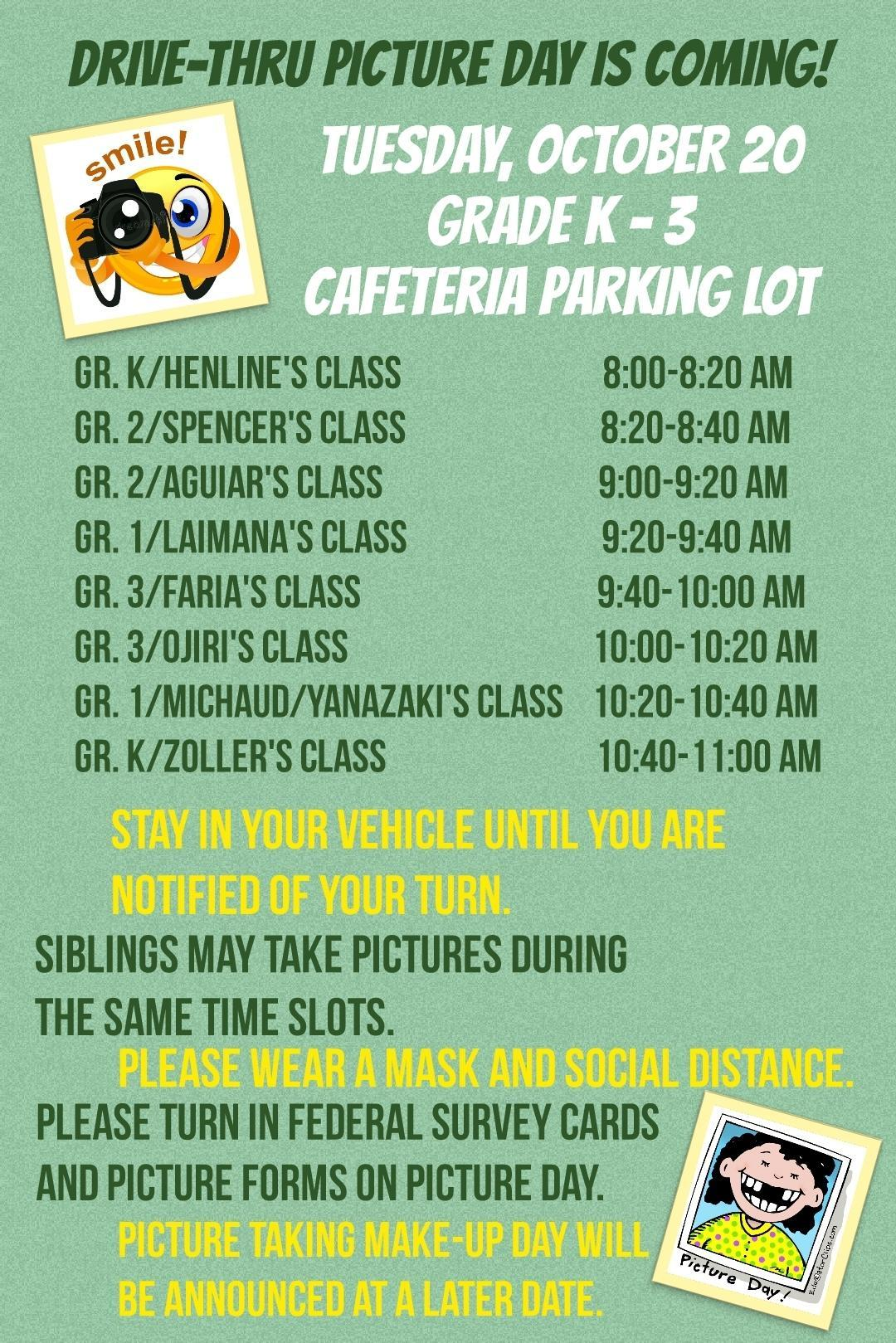 Grades K-3 Picture Day Schedule