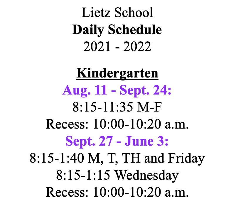 Lietz Bell Schedule Details