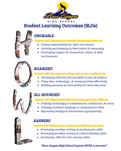 BCHS Student Learning Outcomes