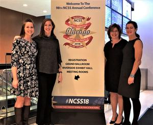 Social studies educators from Westfield Public Schools pose in front of a sign for the annual conference of the National Council for the Social Studies (NCSS) in Chicago, where they were presenters.
